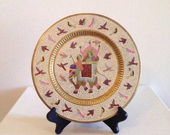 Vintage Brass Enamel Indian Hindu Plate Boho Hippie Decor