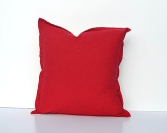 Red Linen Pillow Cover | Washed Linen | Many Sizes From 10 x 16 To Euro | Square Or Lumbar