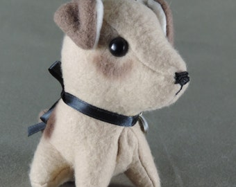 Jack Russell dog stuffie, handmade, fleece, doll miniature, 4 inches high, tan and chocolate, hand colored
