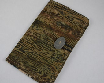 Wood grain Batik Print large Bifold Wallet with Pebble Button Closure