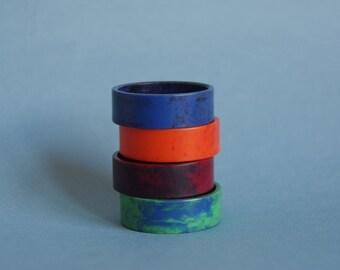 Bakelite serviette rings / napkin rings end of day bakelite harlequin blue orange green maroon