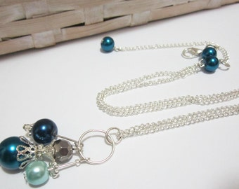 Blue Bridesmaid Necklace, Pearl Pendant in Silver Gray and Blue, Wedding Jewelry ,Beaded Bridal Party Sets, Beaded Pendant Necklace