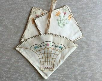 Old Handmade Floral Basket Pot Holders