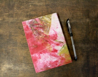 """Upcycled Hand Bound Notebook """"Pink Cinderella"""" from Letterpress Ink Rags"""