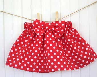 Red Polka Dot Skirt/ Baby Skirt/ Red Skirt/ Girls Skirt/ Bow/ Ruffle/ Minnie Mouse/ High waisted/ Toddler/ Dress/ Newborn/ Disneyland/Disney