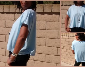 Soft And Easy Comfy Cotton Knit Cap Sleeve Cropped  Boxy Tee / New Colors Added -  All Sizes Available