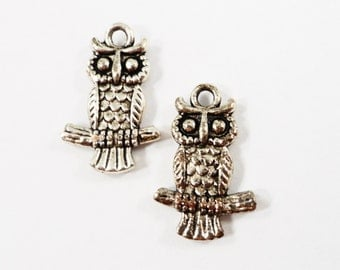 Silver Owl Charms 20x13mm Antique Silver Tone Metal Owl Animal Bird Charms Pendants Jewelry Findings 10pcs