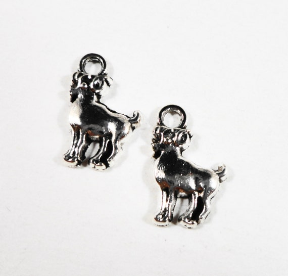 Aries Zodiac Charms 14x9mm Antique Silver Aries Ram Charms, Astrology Sign Charms, Horoscope Charms, Small Aries Pendant, DIY, 10pcs