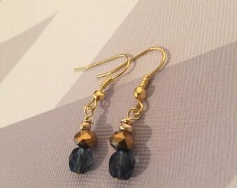 Drop Earrings - Gold Earrings, Blue Earrings, Bead Earrings, Crystal, Hook Earrings, Drop Earrings, Gold Jewellery, Gold Earrings, Short