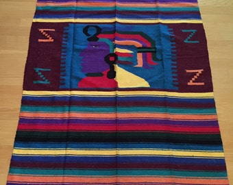 SALE / large Mexican blanket / rug / wall hanging
