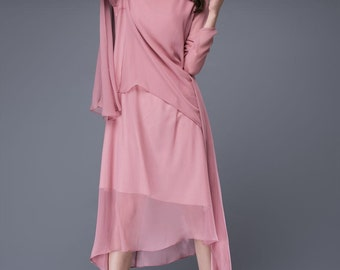 Rose Pink Chiffon Dress - Loose-Fitting Layered Asymmetrical Floaty Elegant Long Sleeved Wedding Party or Prom Dress C877