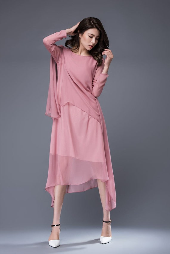Rose pink chiffon dress loose fitting layered asymmetrical for Loose fitting wedding dresses
