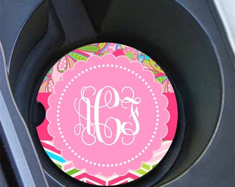 Chevron monogram car coaster preppy, Pink lime green blue, Girly car accessory Paisley, Pink car decor, Floral car cup holder coaster (1666)