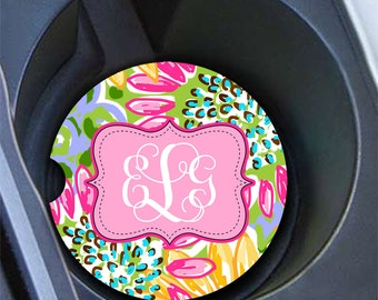 Tropical car coaster with monogram, Pink and yellow sunflowers, Cute auto decor, Preppy floral car decoration, Gifts for women (1681)