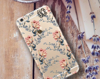 Personalized Iphone 6 Plus case clear, Floral Iphone 6 case clear, Girly fashion for her, Gift under 20 under 25 for women (1609)