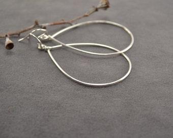 Silver Hoops, Dangle Hoops, Hammered Silver Hoop Earrings, Hand Formed Earrings, Silver Earrings, Sterling Silver Teardrop Dangle Hoops