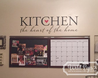 Kitchen the heart of the home, Wall Art Hallway Foyer, kitchen, kitchen sign, kitchen quote, dining room wall Decor decal quote HH2176
