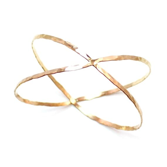 Silver, Gold, Rose Gold Criss Cross Bracelet - X Bangle - Hammered Cuff