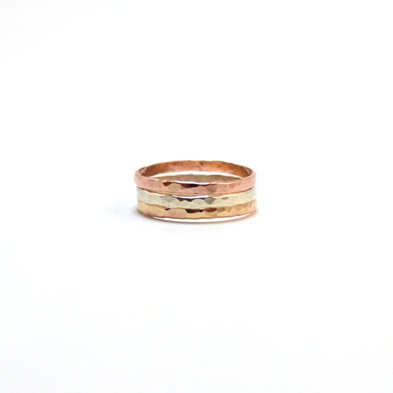 Hammered Tri Color Stacking Rings - Pink gold, Yellow gold, Sterling silver - Gift for Her - Stackable