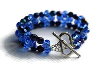 Blue Beaded Bracelet, Christmas Party Jewellery, Sparkly Beaded Bracelet, Deep Blue Bracelet, Beaded Cuff Bracelet, Ladies Gift Ideas
