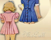 1940s Dress Pattern McCall 5223 Size 3 Little Girls Frock with Matching Panties