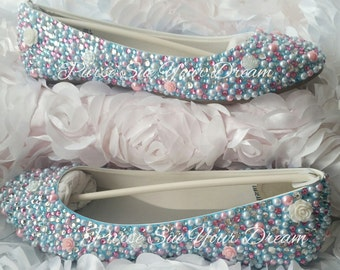Custom Pearl and Swarovski Crystal Rhinstone Bridal Flat Shoes - Bridal Custom Shoes - Bride Heel Shoes - Wedding Shoes - Pearl Wedding Shoe