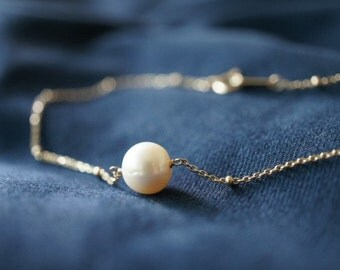 10K Solid Yellow Gold Satellite Chain Bracelet with Freshwater Pearl- FREE Shipping- made to order- 2 weeks- modern minimalist jewelry
