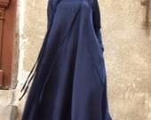 New 2016 Fall  Maxi Dress / Navy Blue  Kaftan Cotton  Dress /Side Pockets  Dress / Extravagant Cotton Party Dress /Daywear Dress A03377