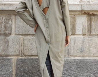 NEW COLLECTION  Olive Green Long Linen Shirt / Extravagant Shirt /Asymmetrical shirt with  side pockets  /Oversize Top by Aakasha A11159