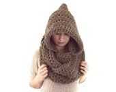 Chunky Hooded Infinity Scarf // The Wels // in Taupe
