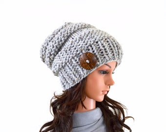 Chunky Extra Slouchy Buttoned Hat Beanie Toque | The Alta