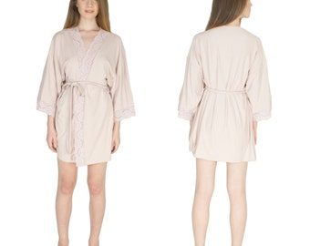Bridesmaids Robes Soft Knit Lace Trim Bridal Shower Gifts Custom Bridal Party Robes