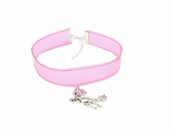 Unicorn Choker Necklace Clear Vinyl Pink or Sparkle