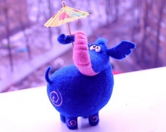 home decor - Needle Felted Toy - blue elephant - Felt Toys