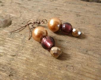 Beaded earrings, dangle earrings, bronze earrings, purple earrings, metallic earrings, bead earrings, boho earrings, gift for her, earrings
