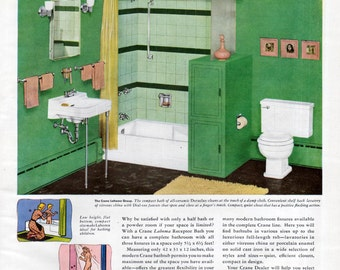 Crane Ad Green Pink Bathroom Fixtures Sinks Original Print Ad 1940's Vintage Wall Decor