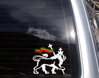 Lion of Judah with Rastafarian Flag Vinyl Decal - fits cars, laptops, glass and more K157