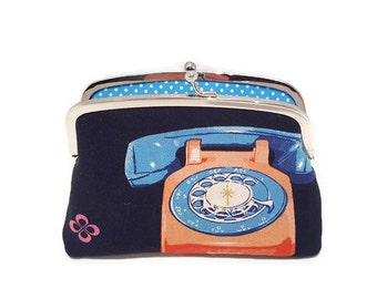 Retro telephone kisslock coin purse,  Melody miller frame wallet with light blue polka dots 2 sections