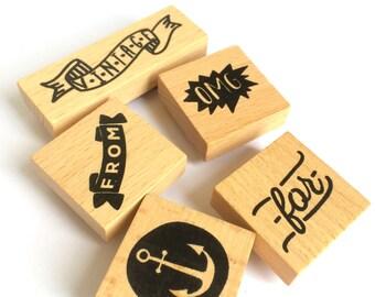 Set of 5 Wooden / Rubber Stamps Vintage / OMG
