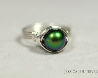 Dark Green Pearl Ring Wire Wrapped Jewelry Handmade Sterling Silver Pearl Ring Swarovski Pearl Ring Iridescent Green Ring Purple Green