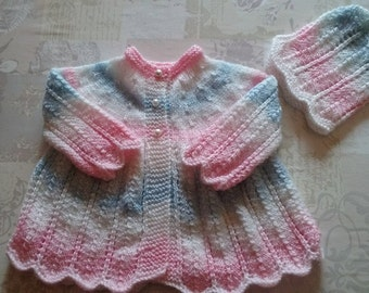 Hand knitted Pink, White and Blue Jacket/Cardi/Sweater & Bonnet set/0-3months.  SOLD