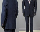 Vintage Suit -- 1970's Men's Navy Velvet Belted Action Back 2 Piece Suit -- Trousers and Jacket -- Size 39/40