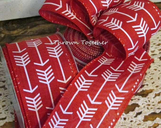 "Red White Arrow Print Ribbon, 2 1/2"" Wired Ribbon 5yds, Red White Ribbon, White Arrow Ribbon, Wired Wreath Ribbon, 2.5inch Craft Ribbon"