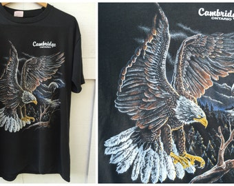 80's Bald Eagle Cambidge Ontario Sportsman T-Shirt - Men's Size L