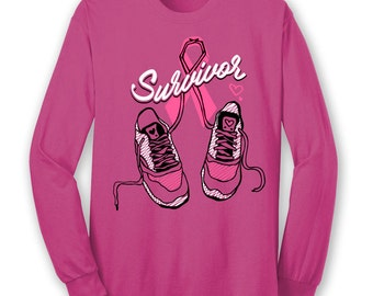 BCA Breast Cancer Awareness Walk Shoes Ribbon Pink T Shirt Long Sleeve