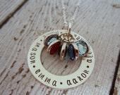 Family Birthstone Necklace, Birthstone Jewelry for Mom, Personalized Birthstone Necklace, Birthstone Necklace for Grandma, Grandma Necklace