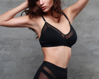 Black Organic Jersey Bralette With Sheer Mesh Details - See Through Mesh and Jersey Lingerie for Women