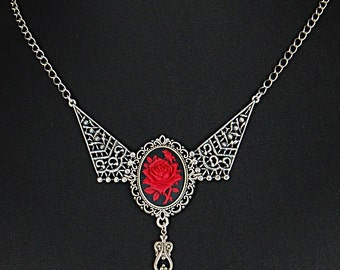 Steampunk silver filigree red rose cameo necklace. Truly beautiful; a must see!