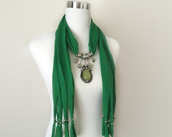 green jewelry scarf - necklace scarf - gift or for you