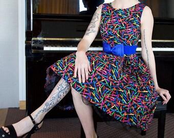 1950's Style Colourful Crayons Dress (UK Sizes 8-18)